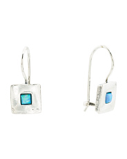 Made In Israel Sterling Silver Opal Square Earrings