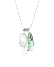 Made In Bali Sterling Silver Pearl And Abalone Necklace