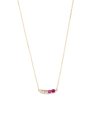 Made In Usa 14k Gold 4 Cz Bar Necklace