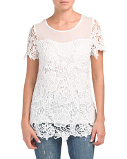 Short Sleeve Illusion Neck Crochet Top