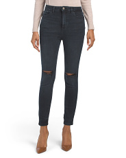 Ultra High Rise Skinny Jeans With Knee Slits