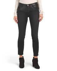 Faux Leather High Waist Skinny Jeans