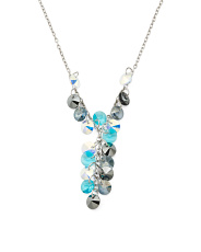 Made In Italy Sterling Silver Swarovski Crystal Y Necklace
