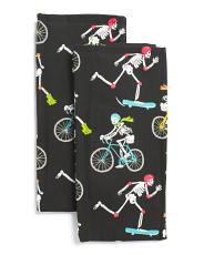 Set Of 2 Allover Skeleton Workout Kitchen Towels
