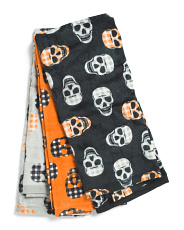 Set Of 3 Gingham Skull Kitchen Towels