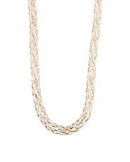 Made In Italy Tri Tone Sterling Silver Braided Necklace