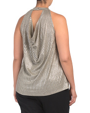 Plus Made In Usa Metallic Drape Back Top