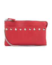 Studded Multi Compartment Leather Crossbody