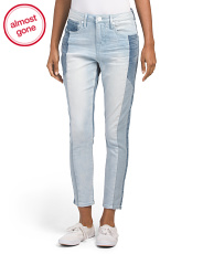 High Rise Mix Denim Skinny Ankle Jeans
