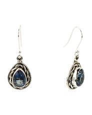 Made In India Sterling Silver Blue Mystic Quartz Earrings