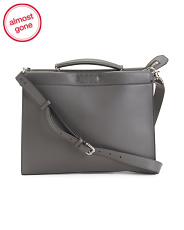 Made In Italy Leather Peekaboo Tote Bag