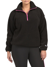 Plus Active Embroidered Fleece Pullover Top