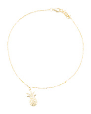 14k Gold Plated Sterling Silver Anklet With Pineapple Charm