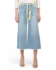 High Rise Cropped Jeans With Belt