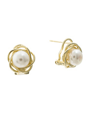 14k Gold Plated Sterling Silver Pearl Earrings
