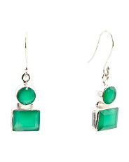 Made In India Sterling Silver Green Onyx Earrings
