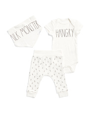 Baby Milk Monster Hangry Pant Set With Bib