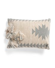 16x22 Textured Tassel Pillow
