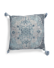 20x20 Printed Slub Pillow With Tassels