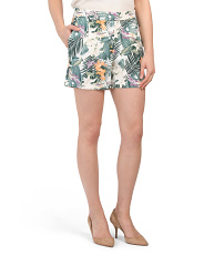 Tropical Printed Crepe Shorts