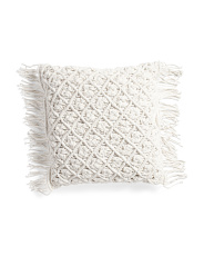 20x20 Chunky Macrame Pillow With Fringe