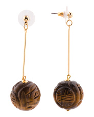 Made In Usa Gold Tone Carved Resin Ball Earrings