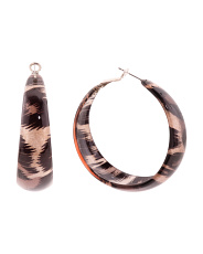 Leopard Print Resin Hoops Earrings