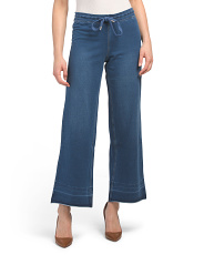 Wide Leg Jeans With Tie Waist