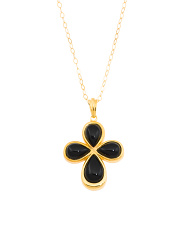 Made In Italy Sterling Silver Onyx Cross Necklace
