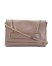 Made In Italy Leather Flap Crossbody Clutch