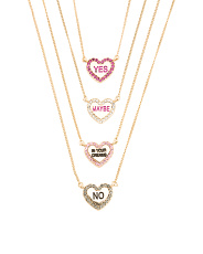 Set Of 4 Heart Necklaces