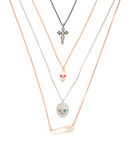 Set Of 4 Skulls & Cross Necklaces