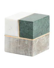 Marble Cube With Brass Inlay