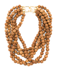 6 Row Tan Wood Beaded Necklace