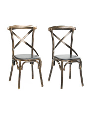 Set Of 2 Metal X Back Accent Chairs
