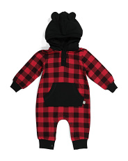 Baby Boys Buffalo Check Hooded Coverall