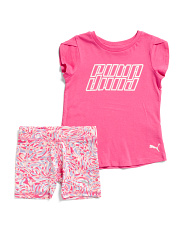 Toddler Girls 2pc Tee And Biker Short Set