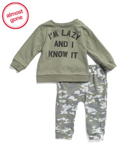 Baby Boys I'm Lazy And I Know It Pants Set