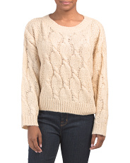 Crew Neck Cable Front Sweater