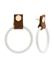 Faux Leather Hoop Earrings With 20k Gold Plating