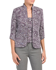 Petite Mandarin Paisley Jacket With Scoop Tank