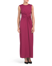 Made In Usa Knot Front Maxi Dress