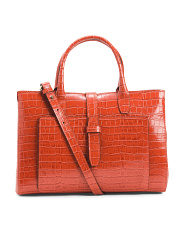 Made In Italy Leather Croc Satchel