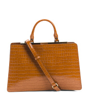 Made In Italy Croc Embossed Leather Satchel
