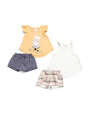 Infant Girls 4pc Mix & Matching Llama Short Set