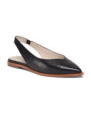 Leather Pointy Toe Sling Back Comfort Flats