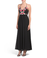 Petite Floral Embroidered Bodice Dress