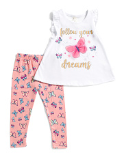Little Girls Butterfly Tee And Legging Set
