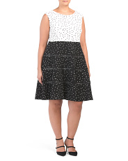 Plus Mixed Dot Fit And Flare Dress