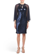 Sequin Sheath Dress With Chiffon Capelet
